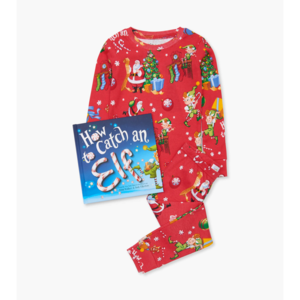 Hatley Long Sleeve How to catch an elf Pajama Set - W/Book - Hanging