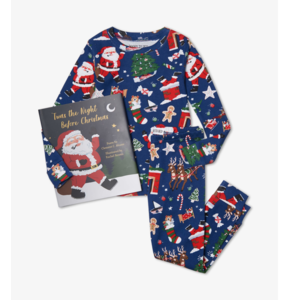 Hatley Long-Sleeve Night Before Christmas (Blue) with Book - Hanging