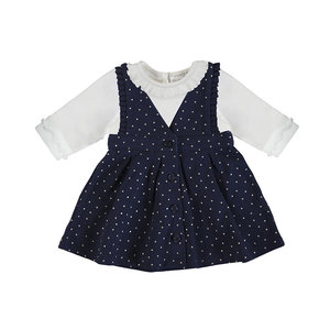 Mayoral Navy Pinafore dress w/ gold dots