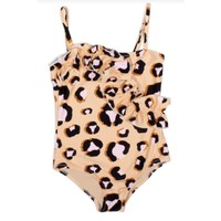 Shade Critters Ruffle Front One Piece Swimsuit - Natural Leopard Print
