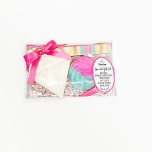 Feeling Smitten Sparkle Travel Gift Set - Includes Cosmetic Bag, Nail File, Mirror & Bath Bomb