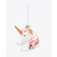 "One Hundred 80 Degrees White Unicorn - Glass Ornament - 3.5"""
