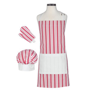 Handstand Kitchen Classic Stripes - Kid's Chef Accessory Kit - Includes Chef's Hat, Oven Mitt & Apron