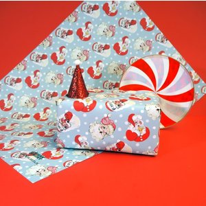 "Eleanor Bowmer Santa Print - Wrapping Paper Sheet - Single 28"" x 20"""