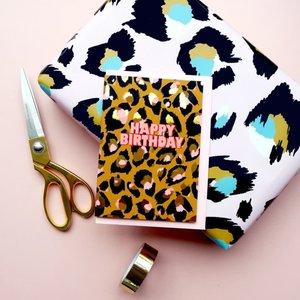 Eleanor Bowmer Happy Birthday - Pink Leopard Print Card