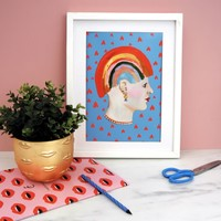 Eleanor Bowmer Rainbow Lady Print A4 / Blue