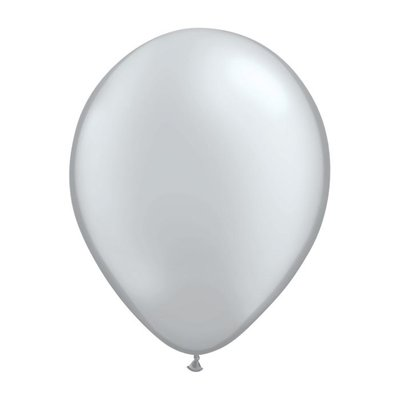 "burton + BURTON 11"" Qualatex Metallic Silver Latex (with helium)"
