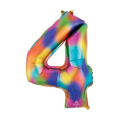 """burton + BURTON 34"""" Number 4 Rainbow Splash Balloon (with helium)"""