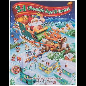 Redstone Foods Santa Sleigh (Yellow) - 24 Chocolate Days 'til Christmas - Advent Calendar with 24 Milk Chocolates