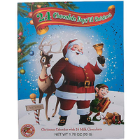 Redstone Foods Santa with Rudolph/Elf (Green) - 24 Chocolate Days 'til Christmas - Advent Calendar with 24 Milk Chocolates