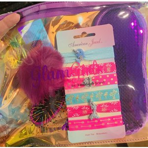 American Jewel Glam Girls Slumber Bag - Scented hair brush, 6 Hair ties (3 with Jewels), Flip Sequin Eye Mask & Zipper Bag