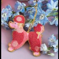 """One Hundred 80 Degrees Beaded Parisian Le Sweet Ornament - Poodle - Glass/Velvet, 4-4.5"""""""