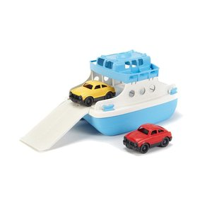 Green Toys Ferry Boat -3 Piece Set (with 2 Cars) - Blue/White