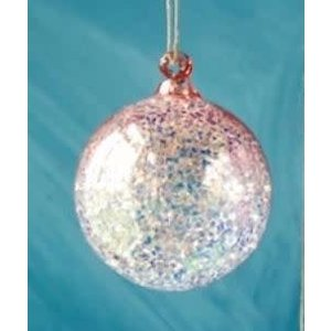 Glitterville PEACH - Glitter Ombre Ball Ornament - handmade - Glass, 3.5""