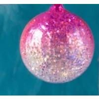 """Glitterville PINK - Glitter Ombre Ball Ornament - handmade - Glass, 3.5"""""""