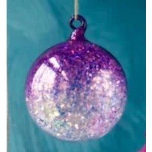 """One Hundred 80 Degrees PURPLE - Glitter Ombre Ball Ornament - handmade - Glass, 3.5"""""""