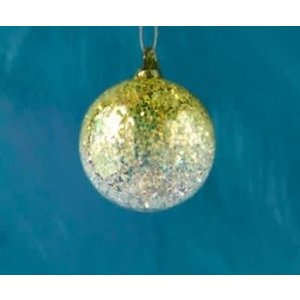 Glitterville YELLOW - Glitter Ombre Ball Ornament - handmade - Glass, 3.5""