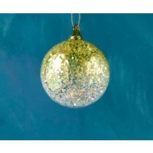 "One Hundred 80 Degrees YELLOW - Glitter Ombre Ball Ornament - handmade - Glass, 3.5"""