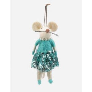 Glitterville BLUE - Felted Mouse Ballerina Ornament - Wool, 5.5""