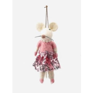 One Hundred 80 Degrees PINK - Felted Mouse Ballerina Ornament - Wool, 5.5""