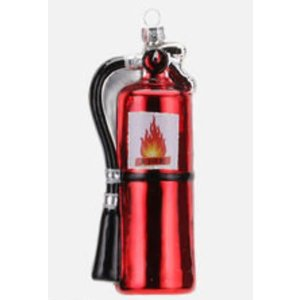 "Glitterville FIRE EXTINGUISHER - Fire Fighter Ornament - Glass, 3"" - 4.75"""