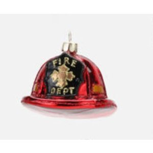 "Glitterville FIREMAN HAT - Fire Fighter Ornament - Glass, 3"" - 4.75"""