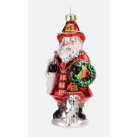 """Glitterville SANTA - Fire Fighter Ornament - Glass, 3"""" - 4.75"""""""