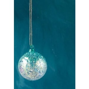 Glitterville BLUE - Glitter Ombre Ball Ornament - handmade - Glass, 3.5""
