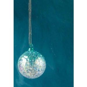 """One Hundred 80 Degrees BLUE - Glitter Ombre Ball Ornament - handmade - Glass, 3.5"""""""