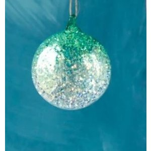 Glitterville GREEN - Glitter Ombre Ball Ornament - handmade - Glass, 3.5""