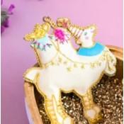 """Glitterville CAMEL - Beaded Lala Ornament - Glass/Velvet, 3.5-5.25"""""""