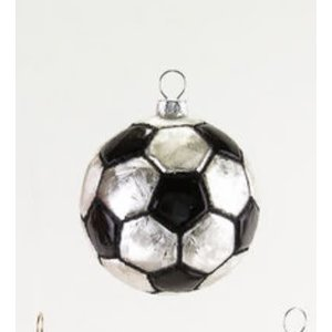 "Glitterville SOCCER - SportS Ball Ornament - Glass, 3.25"" - 4.5"""