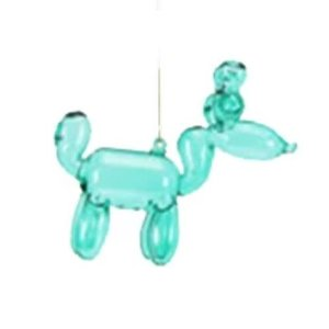 Glitterville GREEN - Reindeer Balloon Ornament - Glass, 3.5""