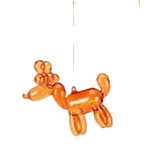 Glitterville ORANGE - Reindeer Balloon Ornament - Glass, 3.5""