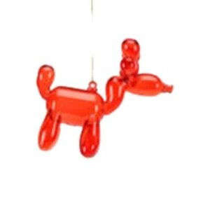 Glitterville RED - Reindeer Balloon Ornament - Glass, 3.5""
