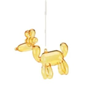 Glitterville YELLOW - Reindeer Balloon Ornament - Glass, 3.5""