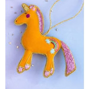 "Glitterville ORANGE - Beaded Unicorn Ornament - Glass/Velvet, 4.4"" x 4.5"""