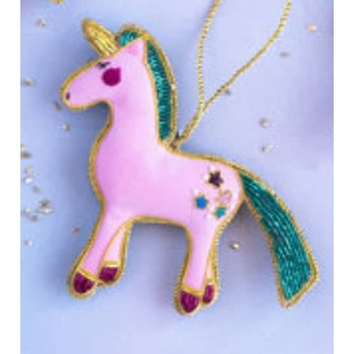 "One Hundred 80 Degrees PINK - Beaded Unicorn Ornament - Glass/Velvet, 4.4"" x 4.5"""