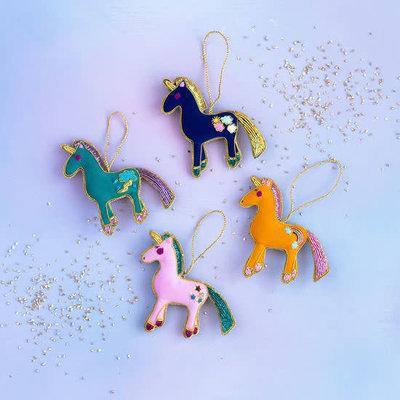 """Glitterville PINK - Beaded Unicorn Ornament - Glass/Velvet, 4.4"""" x 4.5"""""""
