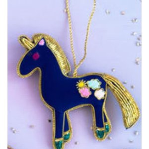"""One Hundred 80 Degrees PURPLE - Beaded Unicorn Ornament - Glass/Velvet, 4.4"""" x 4.5"""""""