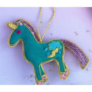 "Glitterville TEAL BLUE - Beaded Unicorn Ornament - Glass/Velvet, 4.4"" x 4.5"""