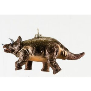 "Glitterville BROWN TRICERATOPS - Dinosaur Ornament -  Glass, 6""-7"""