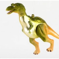 """Glitterville GREEN T-REX - Dinosaur Ornament -  Glass, 6""""-7"""""""