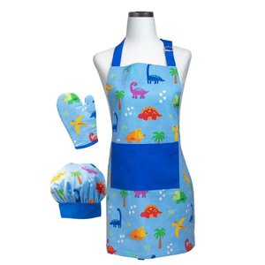 Handstand Kitchen Dinosaur - Youth Chef Accessory Kit (Chef's Hat, Oven Mitt & Apron)