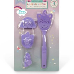 Handstand Kitchen Rainbows and Unicorns - Cookie Stamps and Spatula Flipper 4 Piece Set
