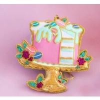 """One Hundred 80 Degrees Beaded Parisian Le Sweet Ornament - Cake - Glass/Velvet, 4-4.5"""""""