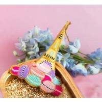 """Glitterville Beaded Parisian Le Sweet Ornament - Eiffel Tower - Glass/Velvet, 4-4.5"""""""