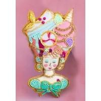 """One Hundred 80 Degrees Beaded Parisian Le Sweet Ornament - French Woman - Glass/Velvet, 4-4.5"""""""