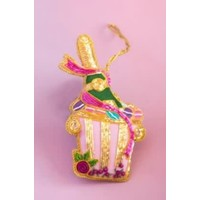 """Glitterville Beaded Parisian Le Sweet Ornament- Champagne - Glass/Velvet, 4-4.5"""""""