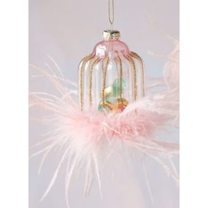 Glitterville BLUE BIRD - Birdcage Ornament - Glass & Feathers, 4.5""